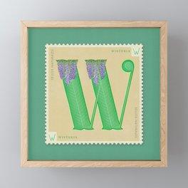 Sellos Naturales. Letter W. Flower: Wisteria Framed Mini Art Print