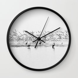 Flock of Terns and Pelicans in the Florida Bay Wall Clock