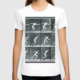 Time Lapse Motion Study Man Running Monochrome T-shirt