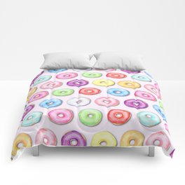 Watercolor Pastel Color Donut Pattern Comforters