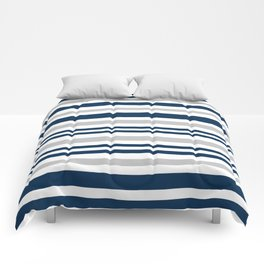 Horizontal stripes , gray , blue ,white Comforters