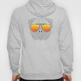 Pug Dog Hairy Face with Sunset Sunglasses Hand Drawn Hoody