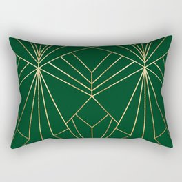 Art Deco in Gold & Green - Large Scale Rectangular Pillow