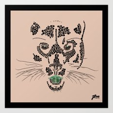 Pointillism Panther Art Print