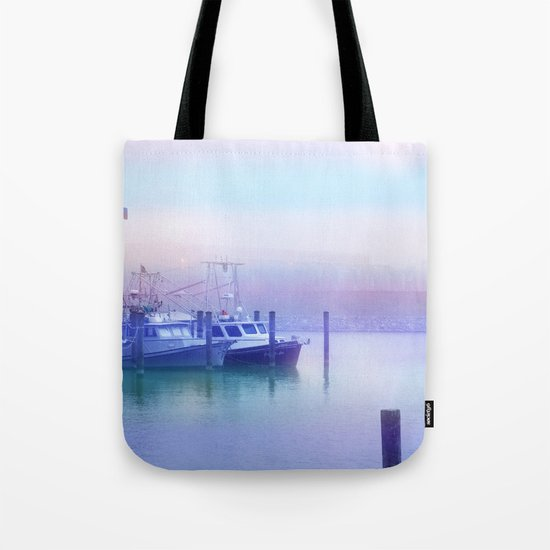 Moored Boats In the Early Morning Fog Tote Bag