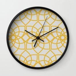 Geometric Flower Repeating Digital Pattern Design - Goldenrod Wall Clock