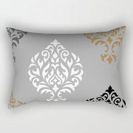 Orna Damask Art I BW Grays Gold Rectangular Pillow