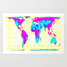 World Map: Gall Peters Colorful Art Print