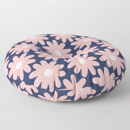 Crayon Flowers Smudgy Pastel Floral Pattern 2 in Pink and White on Navy Blue Floor Pillow