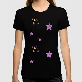 Purple plum violet stars and yellow moon by dark blue night T-shirt