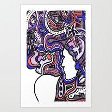 Salmon Techno Art Print