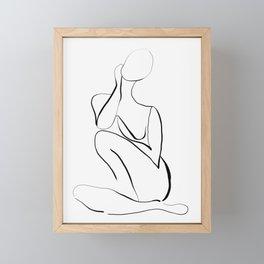 Female Figure Line Art Framed Mini Art Print