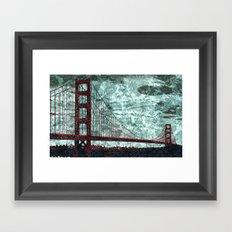 Red Bridge, Blue Bay Framed Art Print