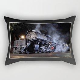 Oiling the Running Gear.  UP 4014. Union Pacific. Steam Train Locomotive. Big Boy. © J. Montague. Rectangular Pillow