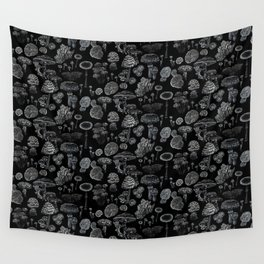 Mycology Black Wall Tapestry