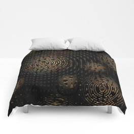 Dark and Orange Circle Weave Pattern Comforters