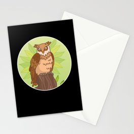 Owl Night Design Owls Bird Birds Natural Gift Stationery Cards
