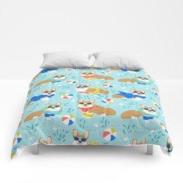 Corgi Pool Party Summer corgi pattern beach pall summer corgi costume cute dog design Comforters