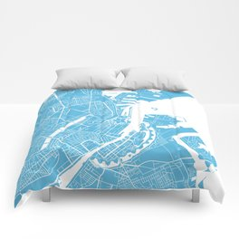 Copenhagen map blue Comforters
