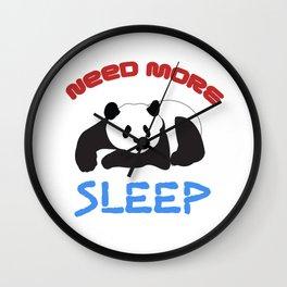 Need More Sleep Funny Lazy Panda Wildlife Animals Tired Bedhead Sleepy Bear Gift Wall Clock