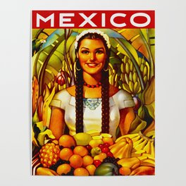 Vintage Bountiful Mexico Travel Poster