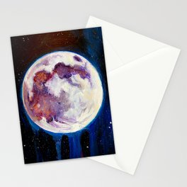 Full Moon Painting Luna Lunar Phase Magick Spells Goddess Space Art Stars Stationery Cards