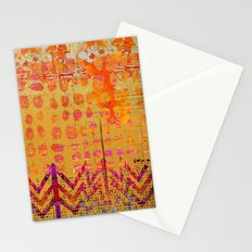 Gold and Orange Dot Abstract Art Collage Stationery Cards