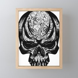 Rubino Vintage Retro Skull Drawing Flower Floral Tattoo Framed Mini Art Print