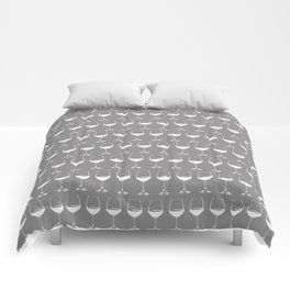Wine Glasses on Grey Comforters