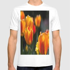 Tulips in the Garden Mens Fitted Tee MEDIUM White