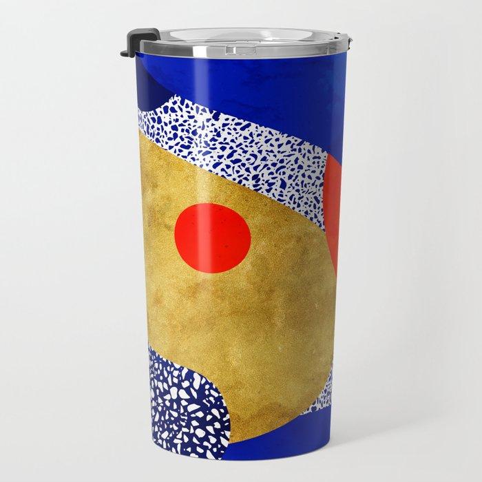 Terrazzo galaxy blue night yellow gold orange Travel Mug