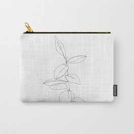 One line minimal plant leaves drawing - Berry Carry-All Pouch