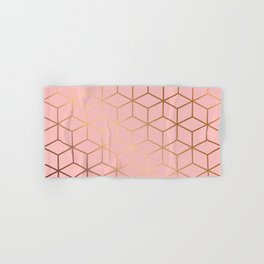 Pink and Gold Geometry 011 Hand & Bath Towel