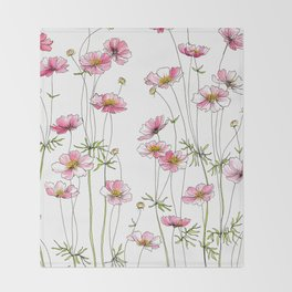 Pink Cosmos Flowers Throw Blanket