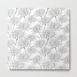 Monochrome floral pattern. Hand drawn black chrysanthemum flowers on a white background Metal Print