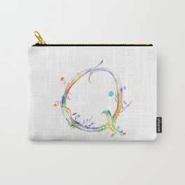 Letter Q watercolor - Watercolor Monogram - Watercolor typography - Floral lettering Carry-All Pouch