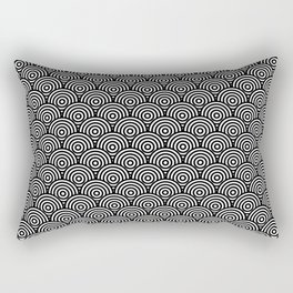 Black Concentric Circle Pattern Rectangular Pillow