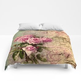 French country chic, rustic, collage, roses,vintage parchment,victorian,belle époque Comforters