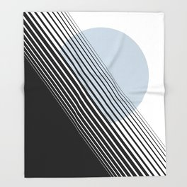 Rising Sun Minimal Japanese Abstract White Black Blue Throw Blanket