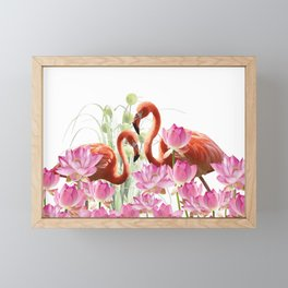 Flamingo Lotos Flower Blossoms Framed Mini Art Print