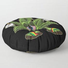 Stoned Cannabis Leaf - Weed Smoking Cartoon Floor Pillow