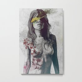 To The Marrow: Autumn (nude faceless girl in topless with lilies) Metal Print