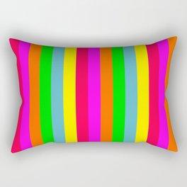 Neon Hawaiian Rainbow Cabana Stripes Rectangular Pillow