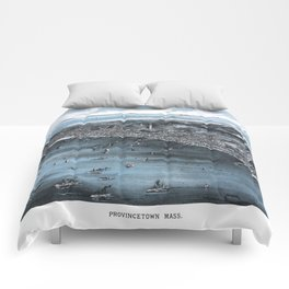PROVINCETOWN MASSACHUSETTS city old map Father Day art print poster Comforters