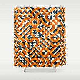 Orange Navy Color Overlay Irregular Geometric Blocks Square Quilt Pattern Shower Curtain