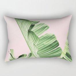 Banana Leaf on pink Rectangular Pillow