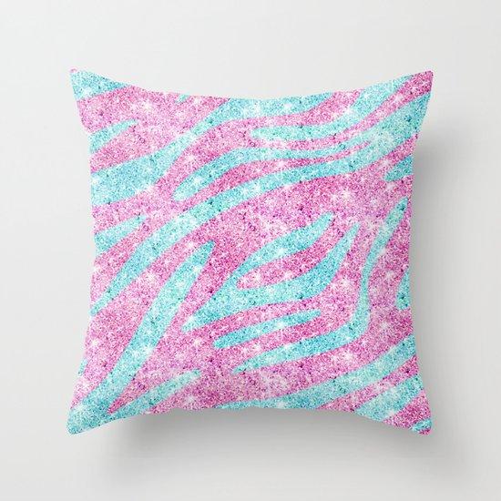 Zebra Stripes Pattern Pink Teal Glitter photo print Throw Pillow