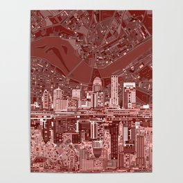 louisville city skyline red Poster