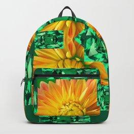 GREEN EMERALD GEMS ART V& GOLDEN MUM FLORAL PATTERNS Backpack