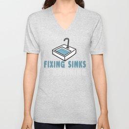 Fixing Sinks is Draining Unisex V-Neck